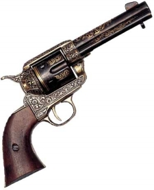 WESTERN FAST DRAW PISTOL GOLD ENGRAVED