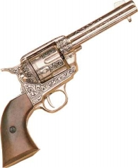 WESTERN FAST DRAW NICKEL ENGRAVED PISTOL