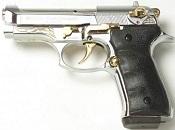 Beretta V92-F Compact 9MM PA Blank Firing Guns - Nickel-Gold Engraved