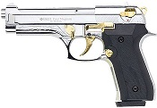 Beretta V92F 9MM PA Blank Firing Gun - Nickel Gold Engraved