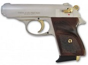V-PPK 9 MMPA Blank Firing Gun - Nickel/Gold