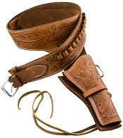 Western Deluxe Tooled Leather Holster, Tan-Medium