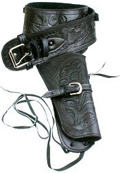Single Tooled Black Leather Western Holster – Medium