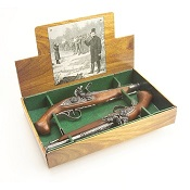 18th Century Engraved Boxed dueling Set Non Firing Flintlock Pistols