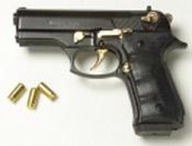 Beretta Cougar 9MM PA Blank Firing Guns - Black/Gold