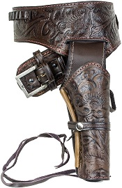 Deluxe Tooled Antiqued Brown Leather Western Holster-Medium